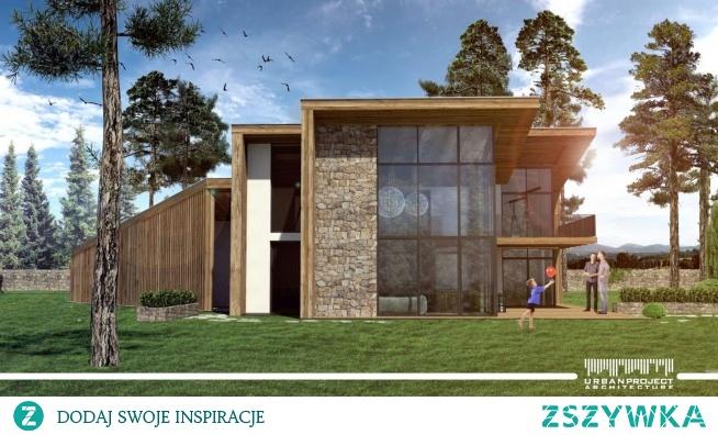 Dom nowoczesny w dwukondygnacyjnym salonem i intymną elewacją frontową (na zdjęciu elewacja ogrodowa)