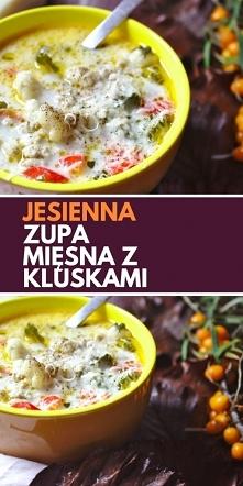 Jesienna zupa z mięsem mielonym i domowymi kluskami.