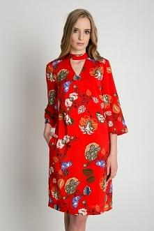 Luźna sukienka we wzory z rękawem 3/4 BIALCON
