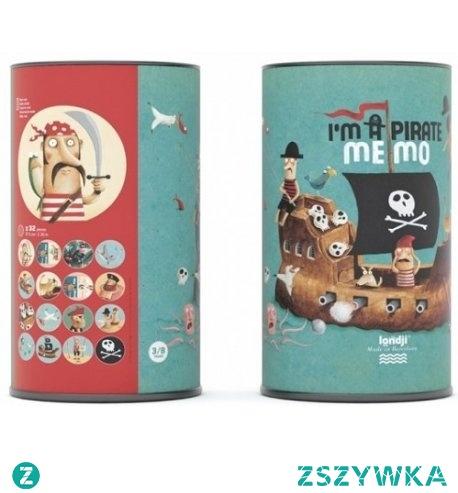 Witajcie:) Zaczynamy od treningu pamięci, poniedziałek:)  Pamięciowa Gra Memory Jestem Piratem dla dzieci od lat 3 dla 2-4 graczy - I'm a Pirate Memo - Londji DI007.  Składa się z 32 okrągłych kart, a polega na odnalezieniu 2 takich samych ilustracji.   Kto wygrywa? Powiemy wam kiedy indziej:)