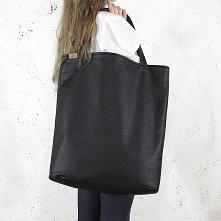 Mega shopper torba czarna teksturowany na zamek
