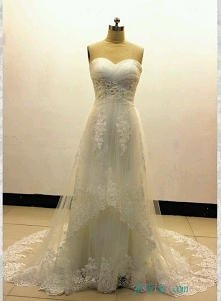 suknia ślubnaRomansowe miękkie tiulowe imperium zasznurowało linię #weddingdress Model: H1554 (bezpłatna wysyłka na cały świat)