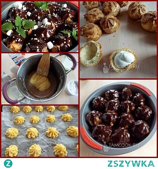 Profiterolki w sosie czekoladowym - ПРОФИТРОЛИ В ШОКОЛАДНОМ СОУСE  Ciasto: Masło - 50 g Mleko - 80 ml Mąka pszenna - 100 g Jajko - 2 szt.  Krem: Śmietana 33% - 150 ml Cukier puder - 3 łyżki.  Sos czekoladowy: Czarna czekolada - 50 g Masło - 20 g Cukier - 50 g Kakao w proszku - 2 łyżki. Mleko - 50 ml  Wlać mleko do garnka i dodać masło. Postaw na piecu i poczekaj, aż masło całkowicie się rozpuści. Wsypać mąkę i szybko wymieszać szpatułką. Ciasto powinno stać się jednolitą masą.  Zdejmij z pieca. Pozostaw do ostygnięcia. Do ciasta pojedynczo dodawaj jaja i ucieraj, aż będzie gładkie i równe. Rękawem cukierniczym robić ciasteczka na blachę do pieczenia pokrytą papierem . Piec profiteroles w temperaturze 180 stopni przez 25-35 minut. Skoncentruj się na piekarniku bo ciasteczka mogą upiec się nieco szybciej.  Sos czekoladowy. Wszystkie składniki sosu płącz się w rondlu. Postawić na ogniu, mieszając powoli, doprowadzić do wrzenia. Usuń z ognia. Ubij śmietanę, dodaj sproszkowany cukier i ubijaj ponownie aż do stabilnego kremu.  Profiteroles przeciąć na pół. Napełniaj je kremem. Przenieś wszystkie profiteroles do głębokiego naczynia i polej chłodzonym sosem czekoladowym, dodaj liście mięty i co kto chce. Profiteroles w sosie czekoladowym są gotow