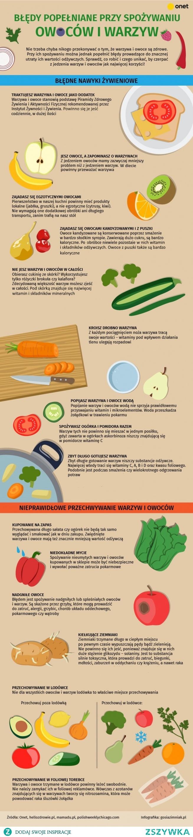 Tak codziennie zabijasz witaminy w warzywach i owocach. Najczęstsze błędy [INFOGRAFIKA]