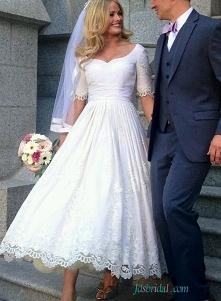 # Vintage pół rękaw koronki długość #weddingdress Model: H1557 (darmowa wysyłka do całego świata)
