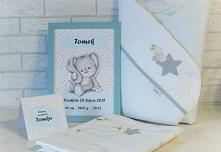 Prezent na narodziny dziecka. Pamiątkowy i praktyczny. Metryczka, karta, Rożek, Pościel do łóżeczka