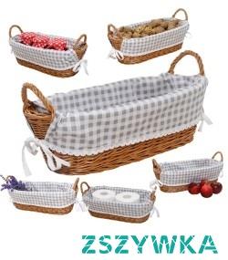 """Elegancki, ekologiczny koszyk o szerokim zastosowaniu. Koszyk wiklinowy posiada elegancki wkład z materiału wykończony koronką. Koszyki dostępne w sklepie internetowym firmy PHU """"Moon-Pearl"""""""