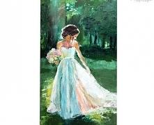 Biała zwiewna suknia, bukie...