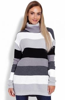 PeekaBoo 40012 sweter golf szary Ciepły kolorowy sweter z golfem, kobiecy fason, który znakomicie układa się na sylwetce, wysoki golf z pewnością zastąpi zimowy szal czy komin