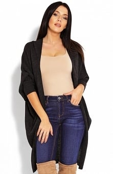 PeekaBoo 40018 długi kardigan grafitowy Długi, modny sweter typu kardigan, fason oversize jest propozycją dla kobiet ceniących wygodę i elegancję na co dzień, długie zwężane rękawy