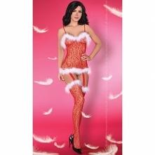 Jak zaskoczyć w te Święta? Body stocking czerwone ozdobione białym puszkiem L...