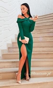 Długa zielona sukienka na ś...
