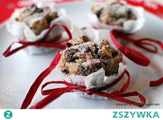 muffiny z żurawiną, jabłkiem i orzechem
