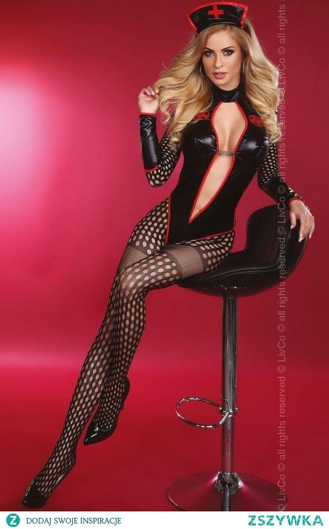 Livia Corsetti Sexy Nurse przebranie Niesamowicie seksowne przebranie niegrzecznej pielęgniarki, która postawi Ciebie na nogi, w skład zestawu wchodzi: bodystocking, opaska, rękawki, gorset, całość wygląda szalenie pikantnie
