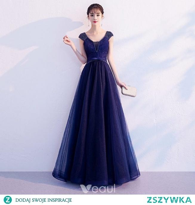 7e1ea588 Eleganckie Granatowe Sukienki Wieczorowe 2019 Princessa V-Szyja.. na ...