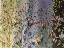 Materiały z nadrukiem wzoru: Pnące kwiaty wśród liści - seria 1,2,3,4,5 - cot...