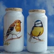 Ptaki. Dekoracja. Komplet ręcznie malowanych słoiczków