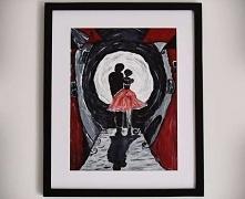 Mój pierwszy obraz, w związku z czym darzę go dużą sympatią.  Romantyczny, tajemniczy i bez oznak zwykłości ;)  Kolory: odcienie czerwieni, szarości, bieli, czerni Materiał: akr...