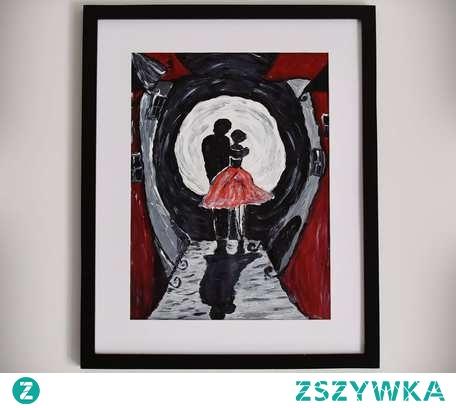 Mój pierwszy obraz, w związku z czym darzę go dużą sympatią.  Romantyczny, tajemniczy i bez oznak zwykłości ;)  Kolory: odcienie czerwieni, szarości, bieli, czerni Materiał: akryl na papierze z bloku akrylowego (przeznaczonego do malowania akrylami) Wymiary: obraz - 40 x 30 cm obraz wraz z ramką - 53 x 43 cm Uwagi: Obraz w oprawie wraz z białym passe-partout, bez szkła, celem uwydatnienia struktury farby.