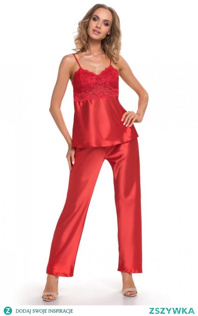 Donna Venus piżama czerwona Piękna dwuczęściowa piżama damska wykonana z miękkiej satyny, top na cienkich ramiączkach, miseczki zostały pokryte piękną kwiatową koronką