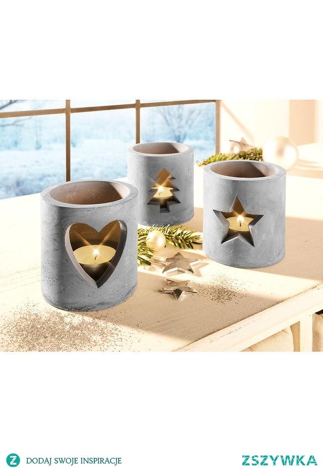 Świąteczne świeczniki wykonane z cementu. Pięknie wyglądają!