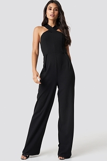 Dilara x NA-KD Wide Leg Cross Neck Jumpsuit - Black