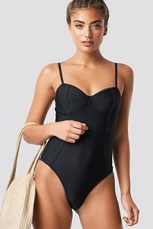 NA-KD Swimwear Kostium kąpielowy gorset - Black