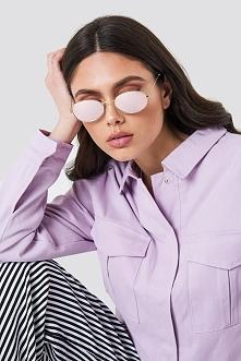NA-KD Accessories Owalne okulary przeciwsłoneczne - Purple
