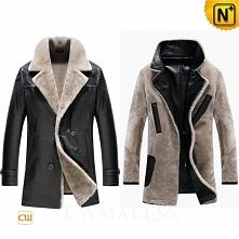Christmas Gift | CWMALLS® Milwaukee Custom Black Shearling Leather Coat CW890013 [Patented Product]