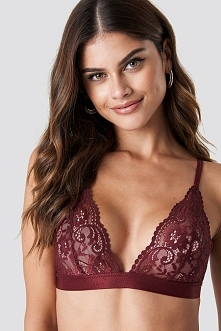 NA-KD Lingerie Two Strap Lace Bra - Red