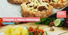 Gniazda z mięsa mielonego z serem żółtym