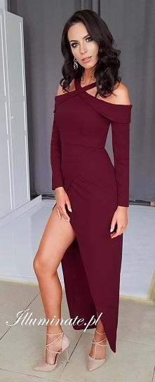 Długa bordowa sukienka na ś...