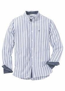 Koszula z długim rękawem Regular Fit bonprix biało-niebieski w paski