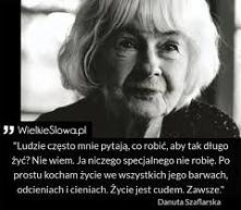 Danuta Szaflarska - polska aktorka. Kobieta, którą podziwiam za siłę życia. Była najdłużej żyjącą i pracującą polską aktorką. Ze sceną pożegnała się w listopadzie 2016r. a zmarł...