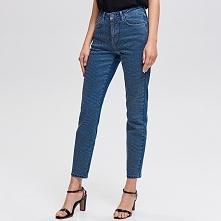 Jeansy z aplikacją na nogawkach - Niebieski