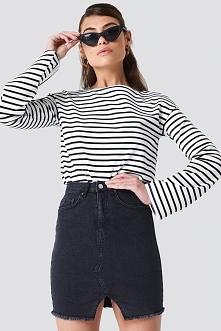 NA-KD Trend Spódnica jeansowa z wycięciem - Black