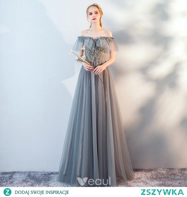 Stylowe Modne Szary Z Koronki Kwiat Sukienki Wieczorowe 2019 Na