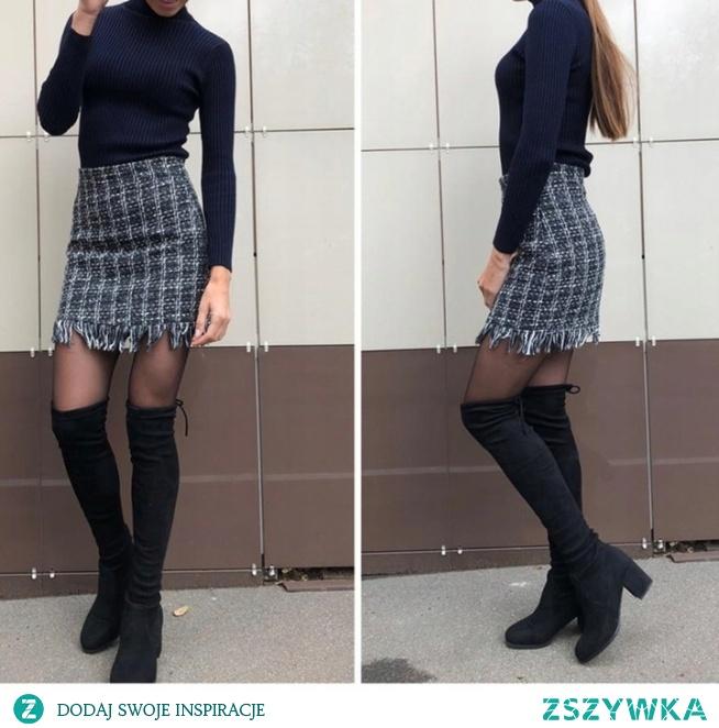 Seksowna spódnica żakardowa to hit tegorocznej zimy! Załóż ją z długimi kozakami, a stworzysz look idealny! Kliknij w zdjęcie i zobacz gdzie kupić!