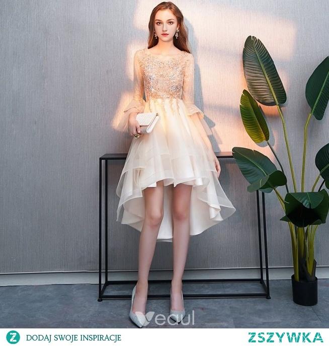 Uroczy Wysoka Niska Szampan Sukienki Koktajlowe 2019 Princessa Wycięciem Frezowanie Kryształ Z Koronki Kwiat Rękawy z dzwoneczkami Asymetryczny Sukienki Wizytowe
