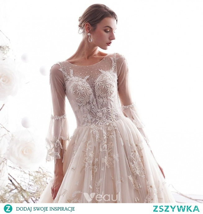 Piękne Szampan Suknie ślubne 2019 Princessa Wycięciem Motyl Apl Na