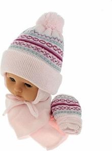 Czapka niemowlęca z szalikiem i rękawiczkami CZ+S+R 013B