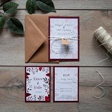 Akwarelowe zaproszenia ślubne - Bordo