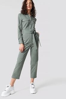 Astrid Olsen x NA-KD Safari Jumpsuit - Green