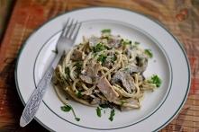 Spaghetti z pieczarkami i szynką  30 dag pieczarek 4 plasterki szynki 1 szalotka 1/2 opakowania makaronu spaghetti 1/2 pęczka natki pietruszki 1 łyżka musztardy francuskiej sól,...