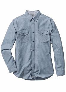 Koszula z długim rękawem Slim Fit bonprix niebieski w paski