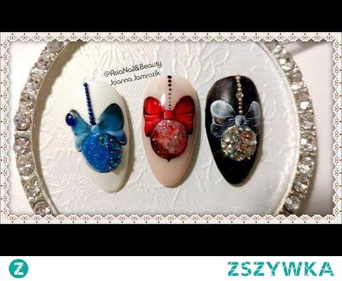 BOMBKA Z KOKARDĄ - Dekoracja świąteczna na paznokciach || AsiaNail