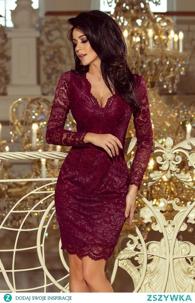 Bordowa koronkowa sukienka z długim rękawkiem i dekoltem. Marka numoco. Polski producent i hurtownia odzieży damskiej  #numoco #dress #dresses #sukienka #wholesalefashion