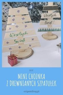 DIY Mini choinka z drewnianych szpatułek • origamifrog.pl