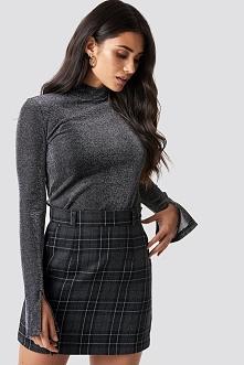 Dilara x NA-KD Checked Mini Skirt - Grey