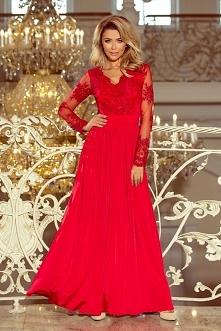 Czerwona długa suknia z kor...